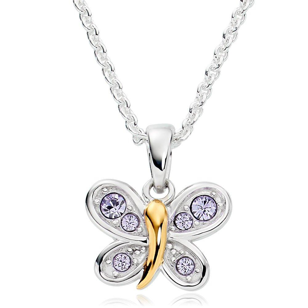 Mini B Silver and Gold Plated Crystal Butterfly Pendant