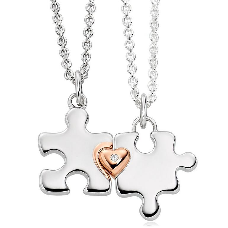 Mini B Silver and Rose Gold Plated Diamond Jigsaw Mother Daughter Pendant Set