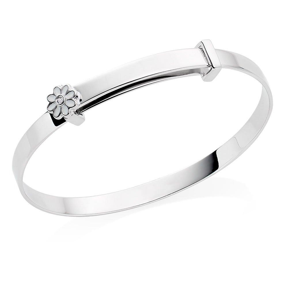 Children's Silver Diamond Flower Bangle