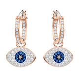 Swarovski Evil Eye Rose Gold Plated Crystal Hoop Earrings