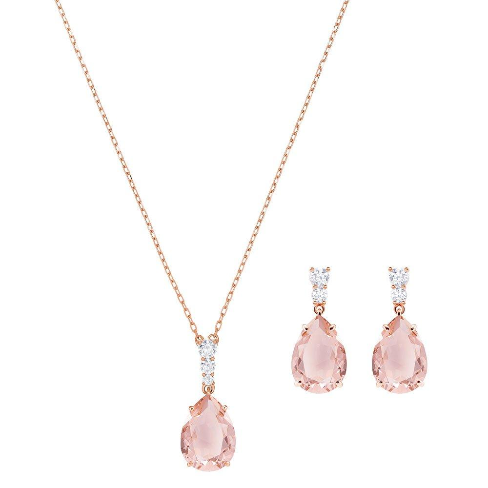 Swarovski Vintage Rose Gold Tone Crystal Pendant and Earrings Set
