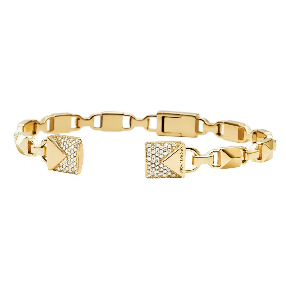 Michael Kors Mercer Link 14ct Gold Plated Silver Cubic Zirconia Bangle
