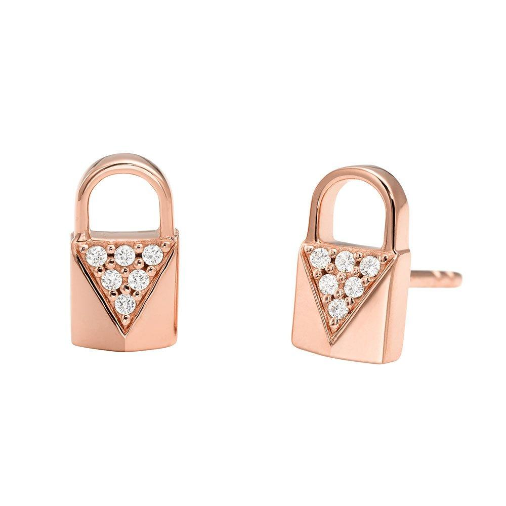 Michael Kors Mercer Link 14ct Rose Gold Plated Silver Cubic Zirconia Padlock Stud Earrings