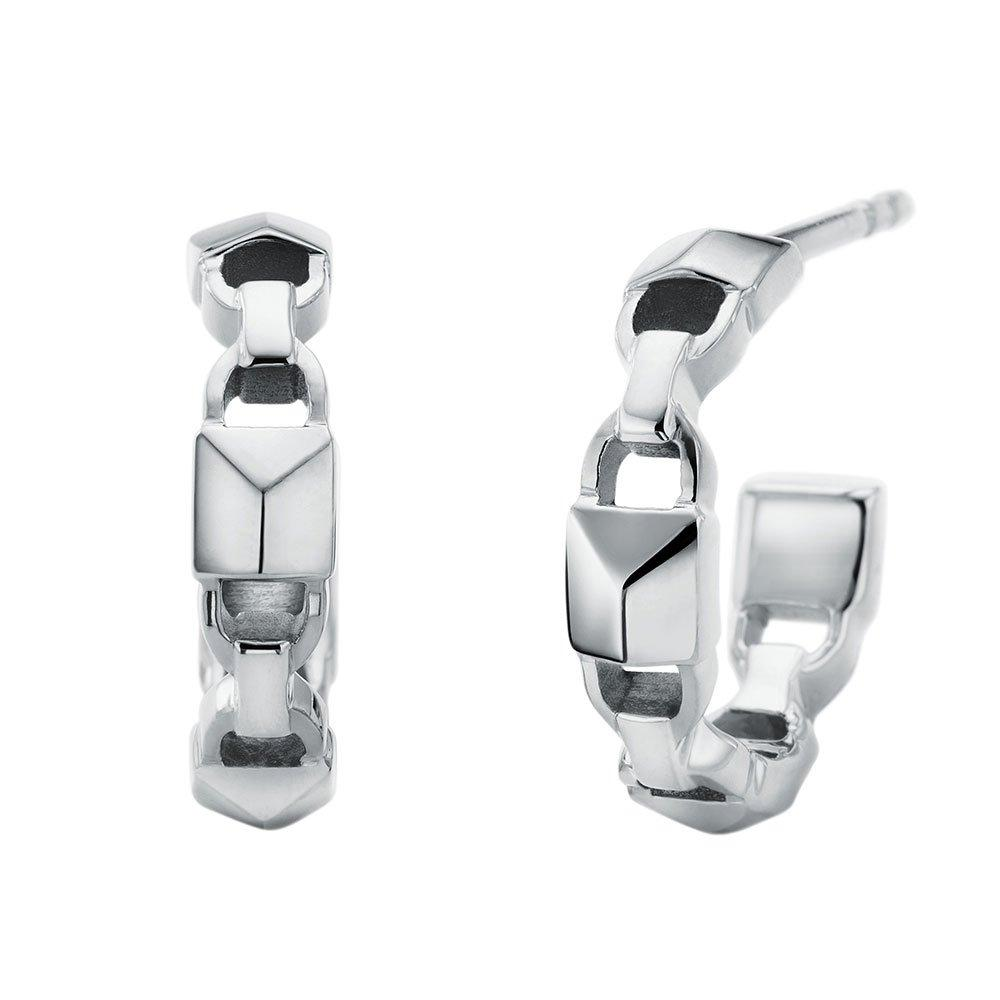 Michael Kors Mercer Link Silver Huggie Earrings