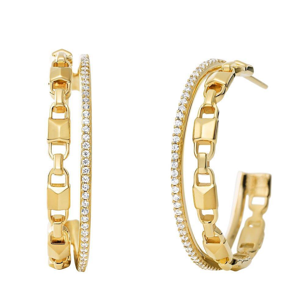 Michael Kors Mercer Link 14ct Gold Plated Silver Cubic Zirconia Hoop Earrings