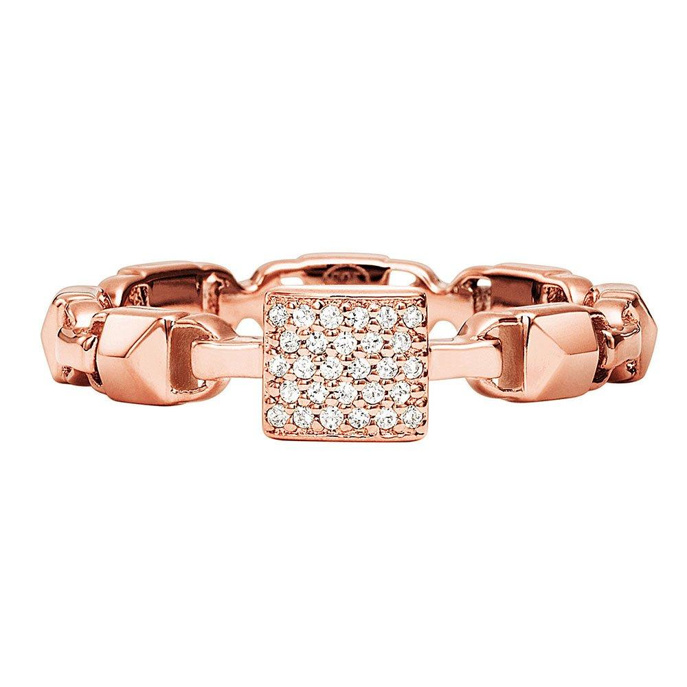 Michael Kors Mercer Link 14ct Rose Gold Plated Silver Cubic Zirconia Stacking Ring