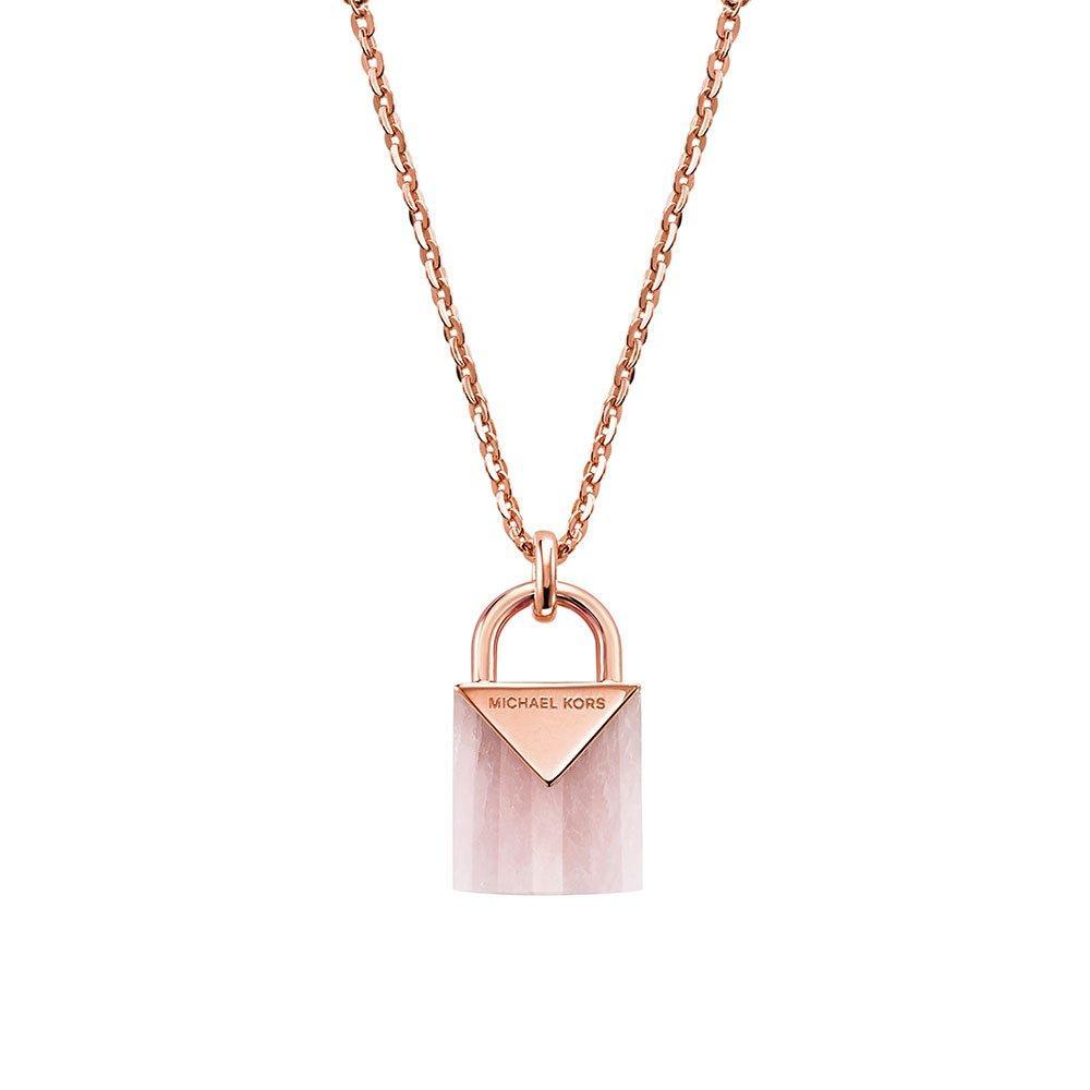 Michael Kors Kors Colour 14ct Rose Gold Plated Silver Rose Quartz Pendant