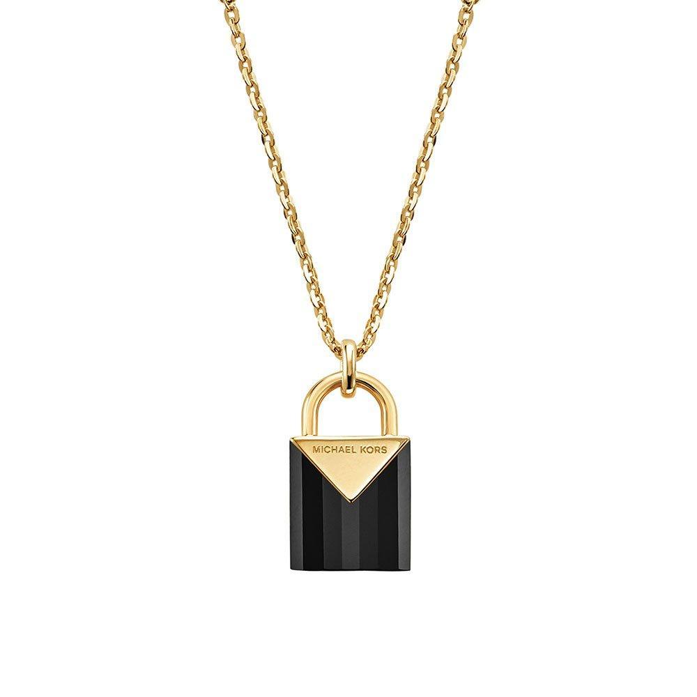 Michael Kors Kors Colour 14ct Gold Plated Silver Black Onyx Padlock Pendant