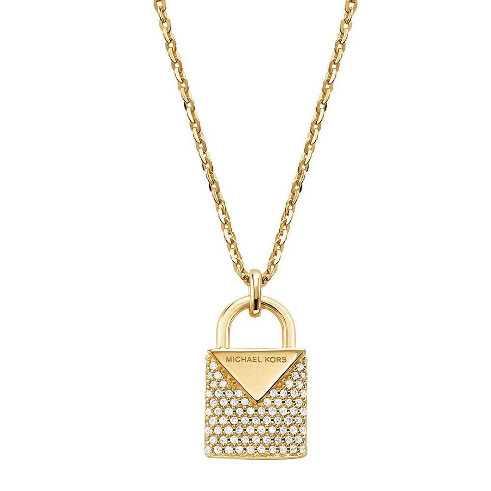 Michael Kors Kors Colour Gold Plated Silver Cubic Zirconia Padlock Pendant