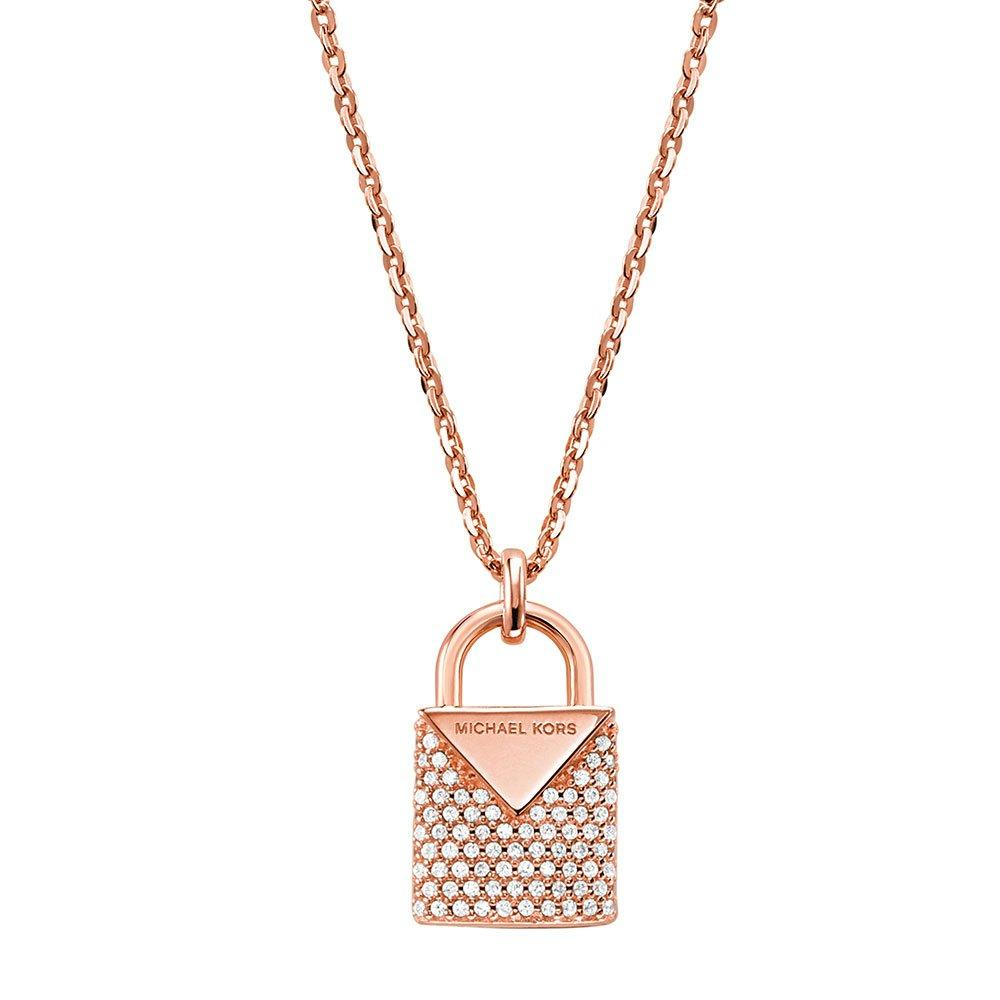 Michael Kors Custom Kors Rose Gold Plated Silver Cubic Zirconia Necklace