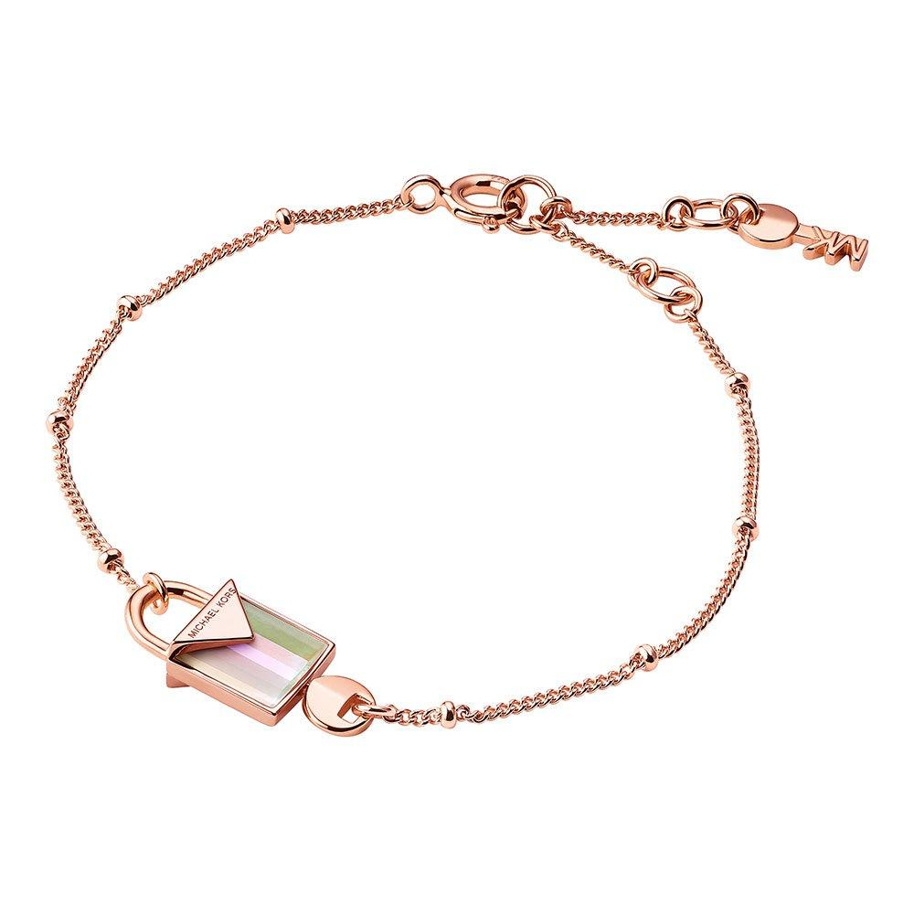 Michael Kors Kors Colour 14ct Rose Gold Plated Rose Quartz Padlock Bracelet