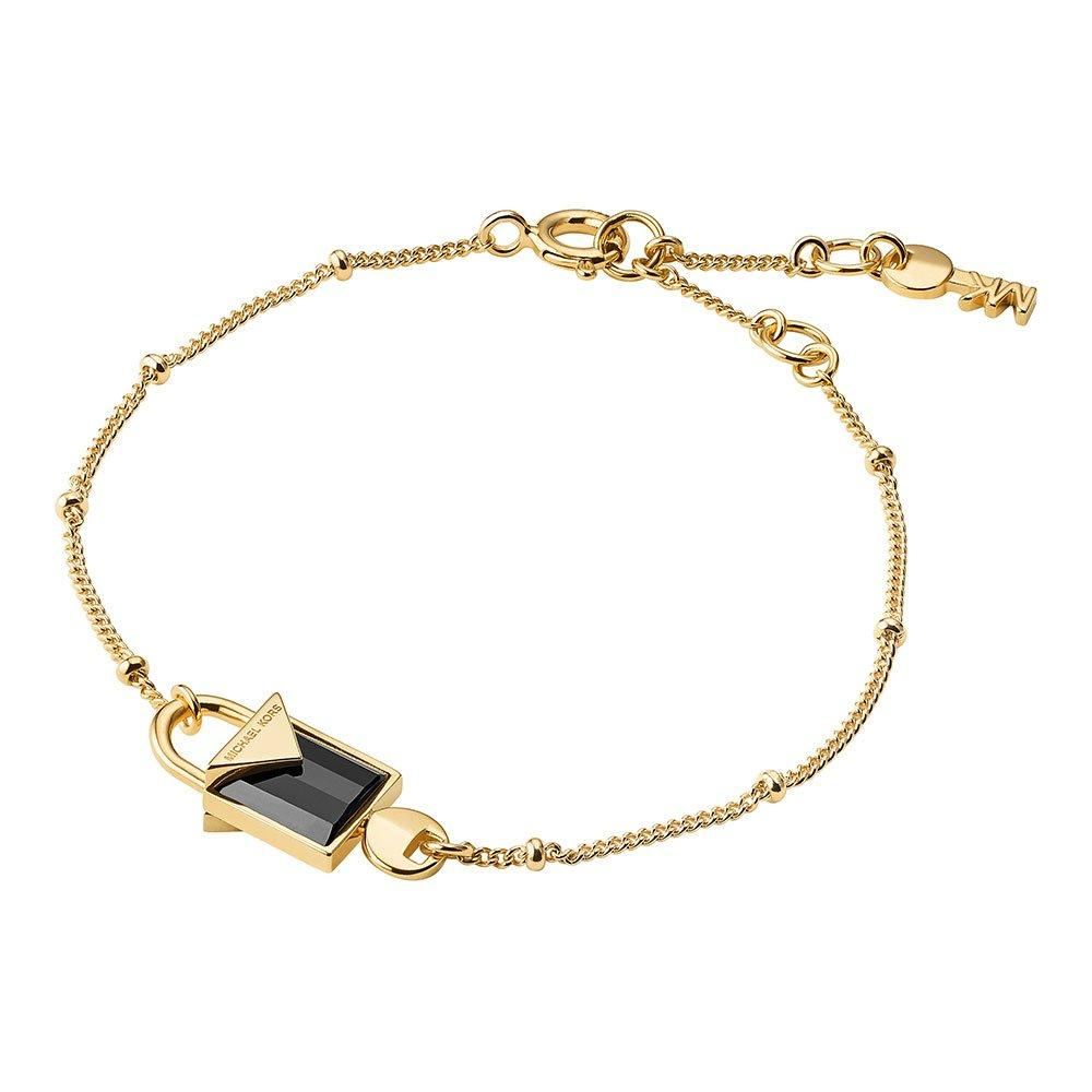 Michael Kors Kors Colour 14ct Gold Plated Silver Black Onyx Padlock Bracelet