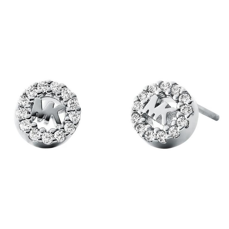 Michael Kors Custom Kors Logo Silver Cubic Zirconia Stud Earrings