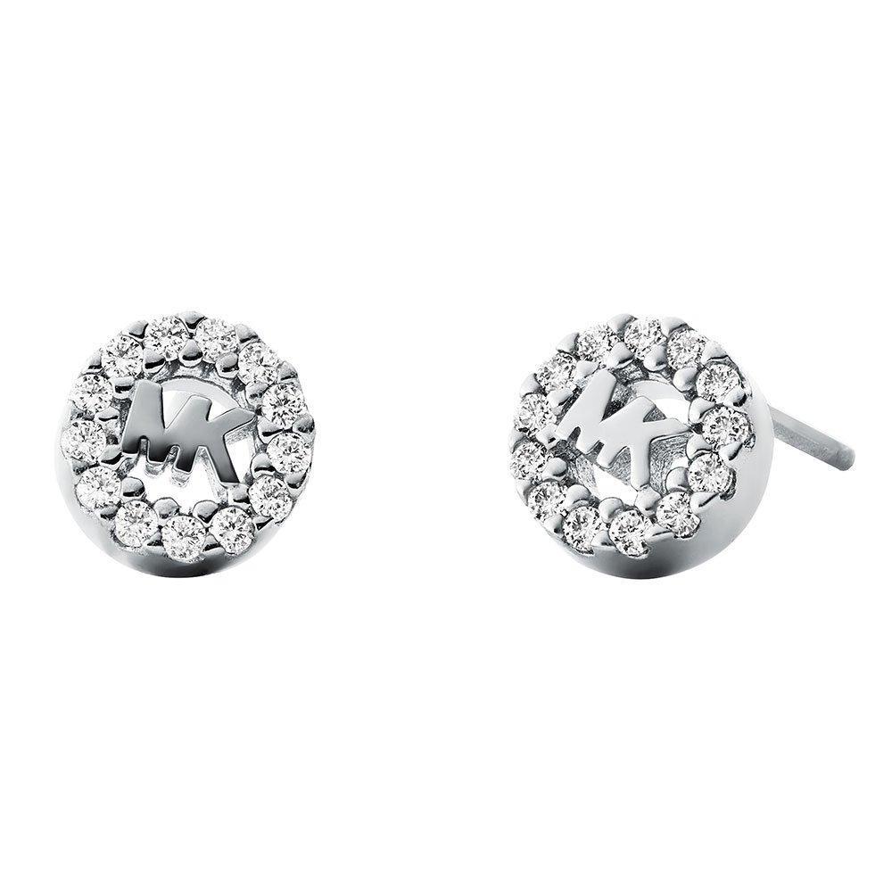 Michael Kors Custom Kors Logo Silver Cubic Zirconia Stud Earrings