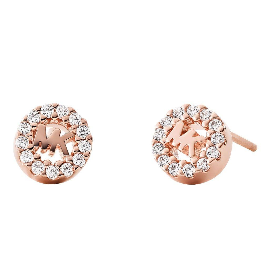 Michael Kors Custom Kors Logo 14ct Rose Gold Plated Silver Cubic Zirconia Stud Earrings