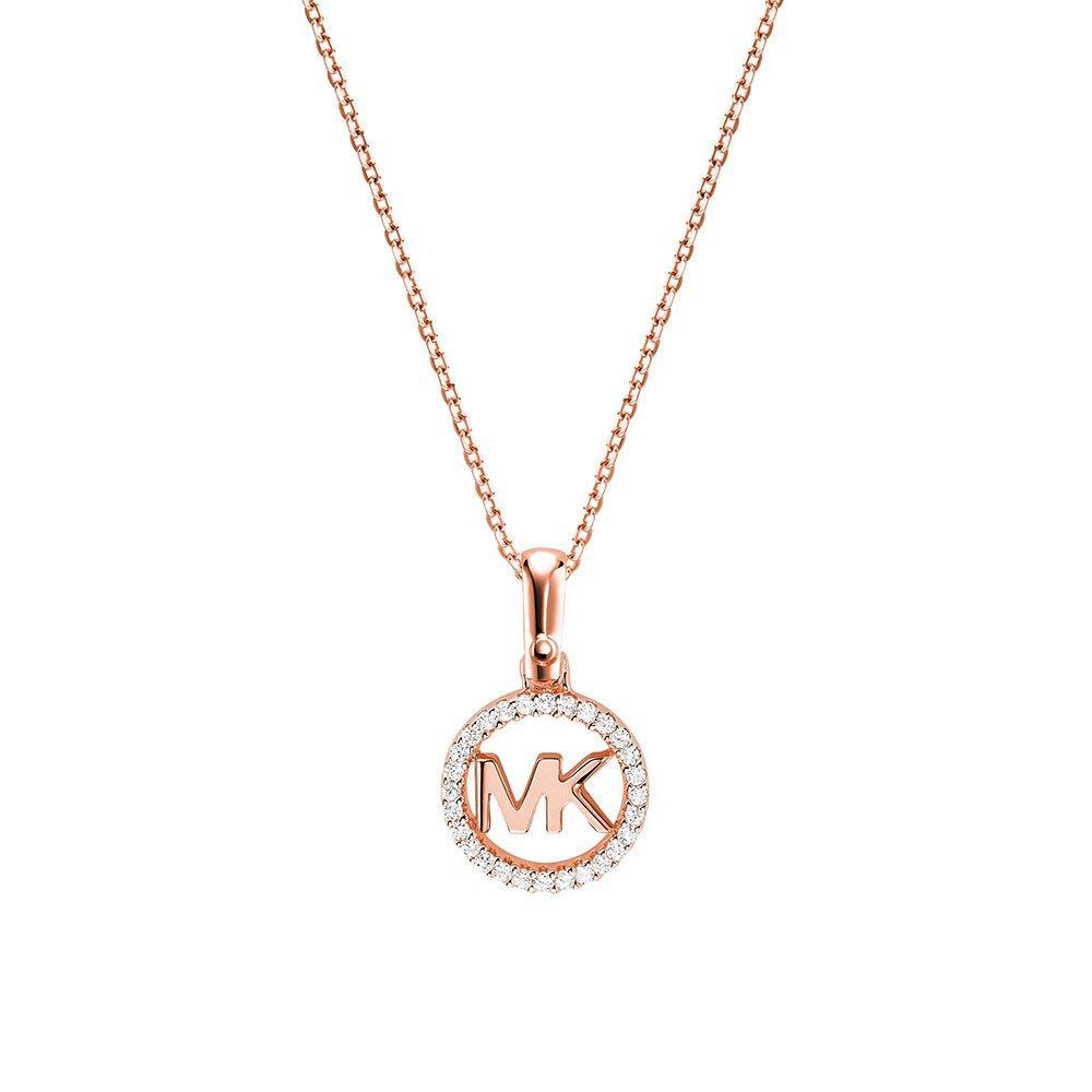 Michael Kors Custom Kors 14ct Rose Gold Plated Silver Cubic Zirconia Logo Pendant
