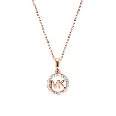 Michael Kors Custom Kors 14ct Rose Gold Plated Silver Cubic Zirconia Logo Pendant