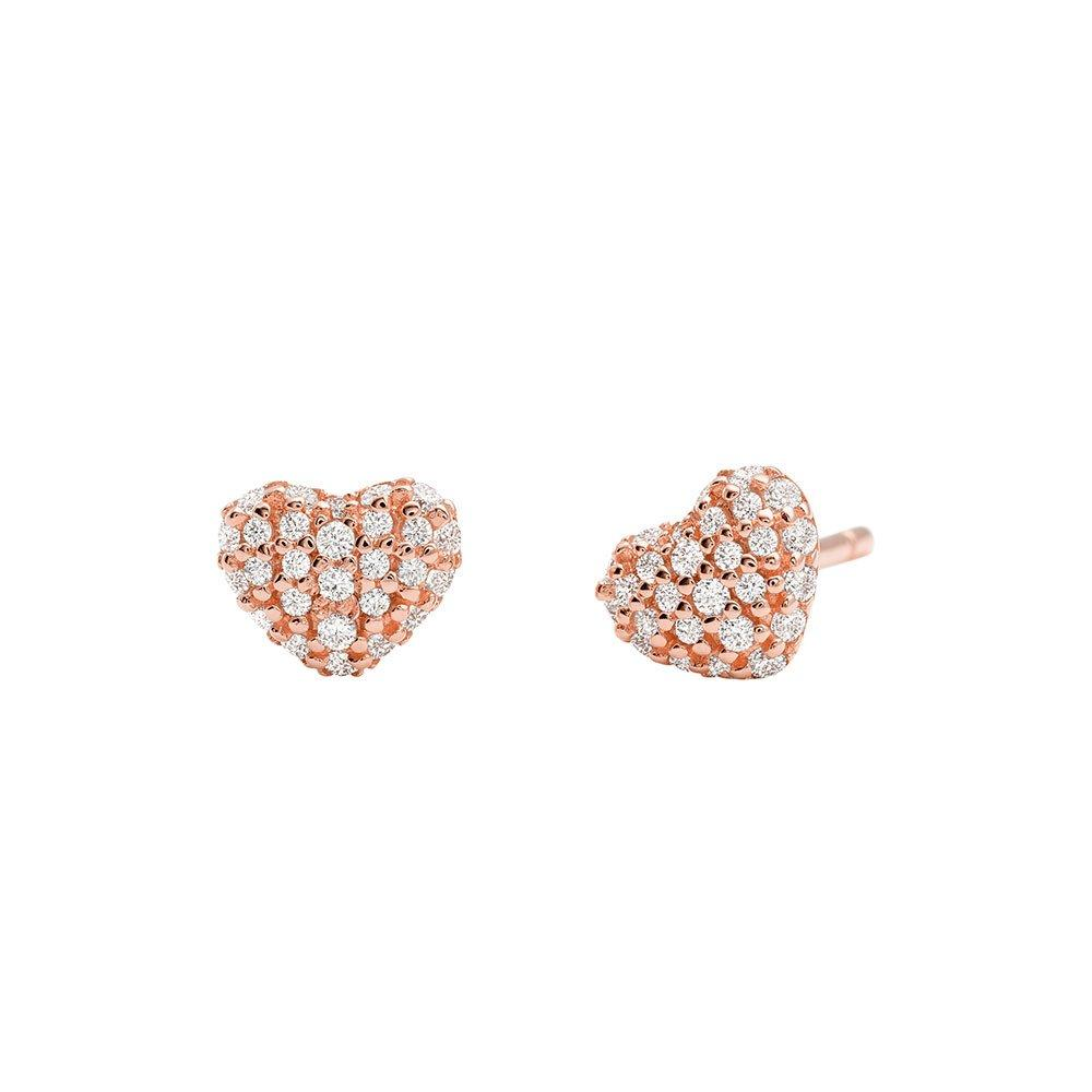 Michael Kors Love 14ct Rose Gold Plated Silver Cubic Zirconia Heart Earrings