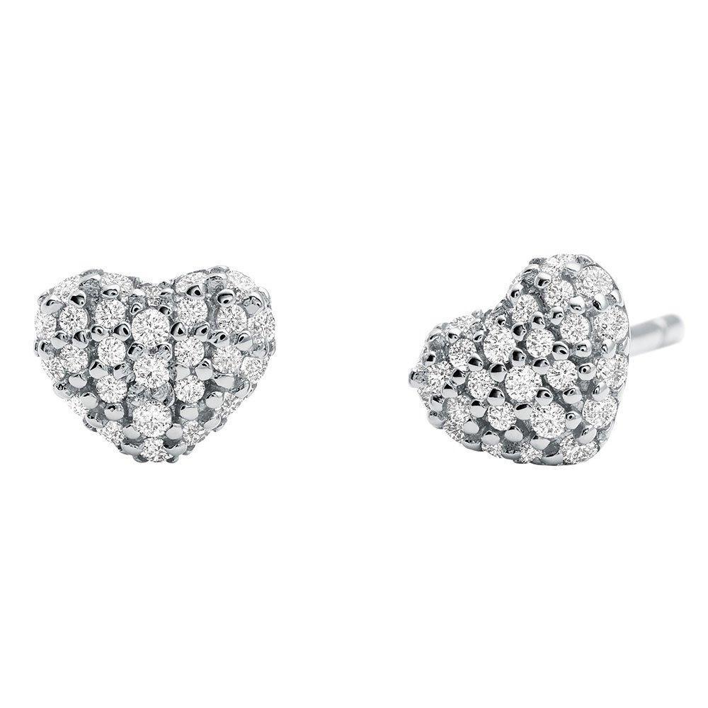 Michael Kors Love Silver Cubic Zirconia Heart Earrings