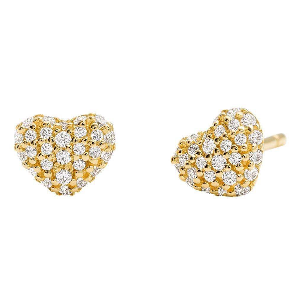 Michael Kors Love 14ct Gold Plated Cubic Zirconia Heart Earrings