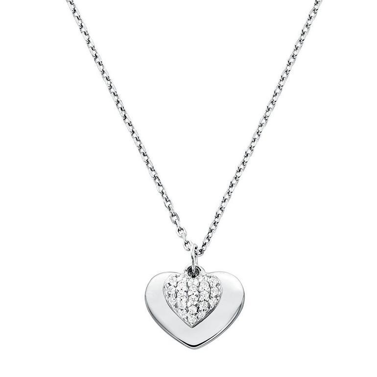 Michael Kors Love Silver Cubic Zirconia Heart Pendant