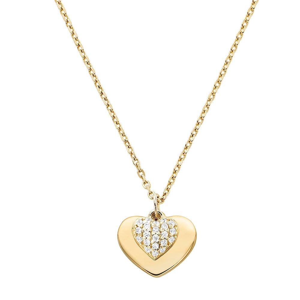 Michael Kors Love 14ct Gold Plated Silver Cubic Zirconia Heart Pendant