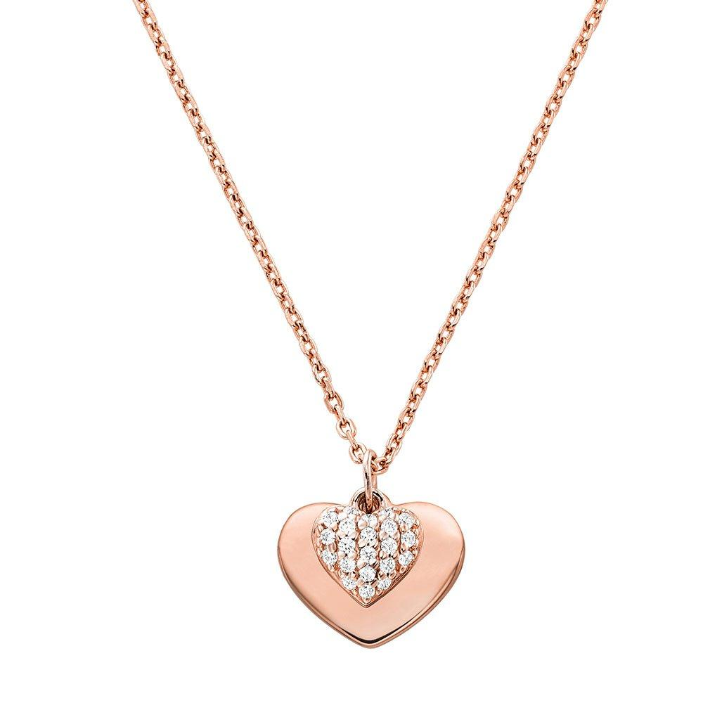 Michael Kors Love 14ct Rose Gold Plated Silver Cubic Zirconia Heart Pendant