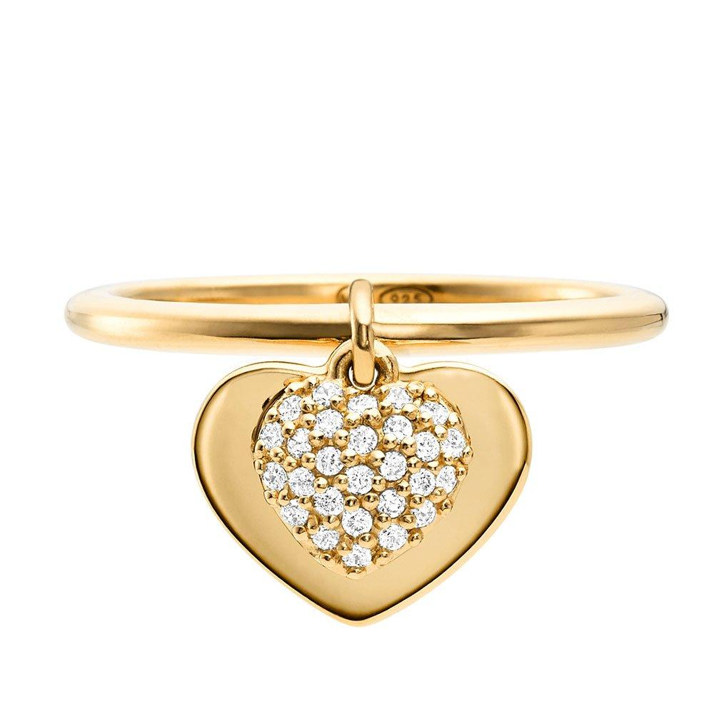 Michael Kors Love 14ct Gold Plated Silver Cubic Zirconia Heart Ring