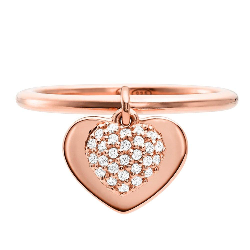 Michael Kors Love 14ct Rose Gold Plated Silver Cubic Zirconia Ring