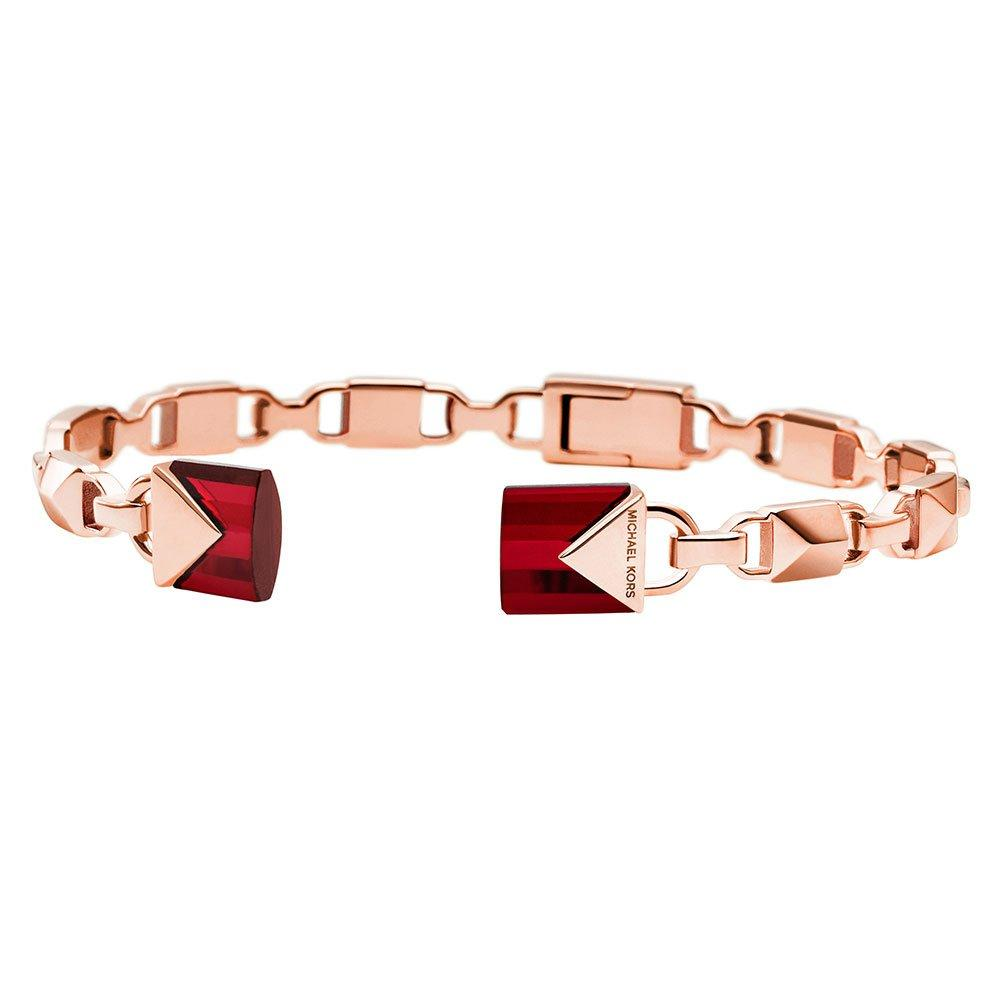 Michael Kors Mercer Link 14ct Rose Gold Plated Red Quartz Bangle