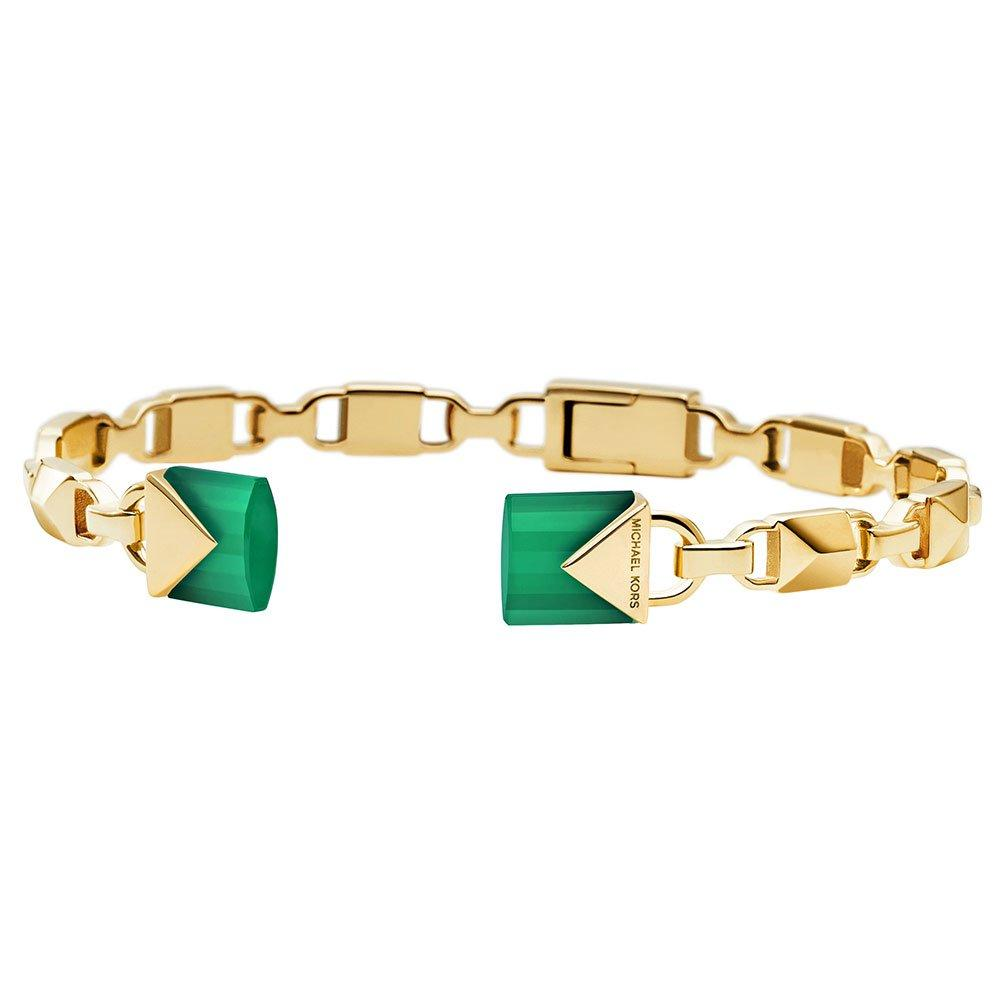 Michael Kors Mercer Link 14ct Gold Plated Silver Green Agate Bangle