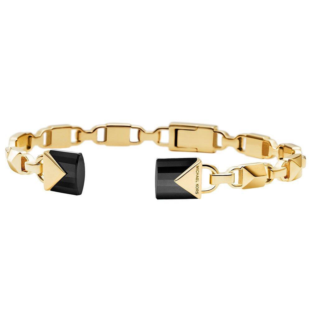 Michael Kors Mercer Link 14ct Gold Plated Silver Black Onyx Bangle