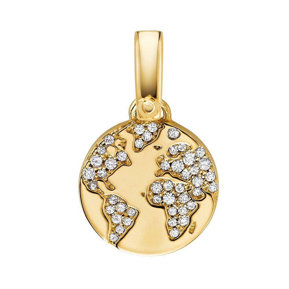 Michael Kors 14ct Gold Plated Silver Cubic Zirconia World Charm
