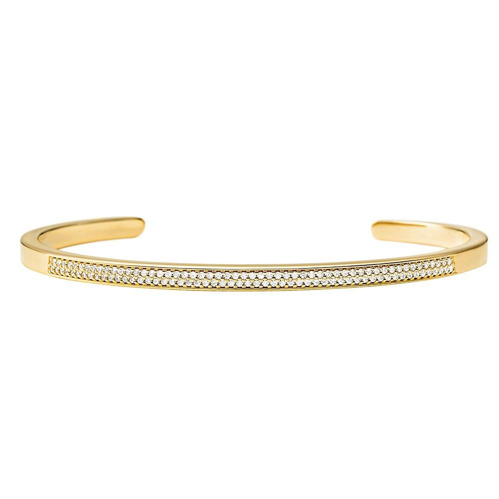 Michael Kors Custom Kors 14ct Gold Plated Silver Cubic Zirconia Insert Bangle