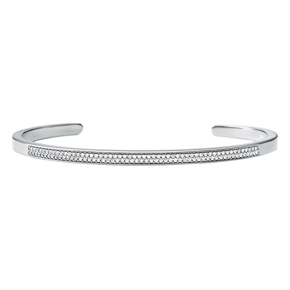 Michael Kors Custom Kors Silver Cubic Zirconia Insert Bangle
