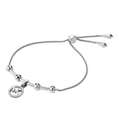 Michael Kors Custom Kors Silver Cubic Zirconia Logo Slider Bracelet