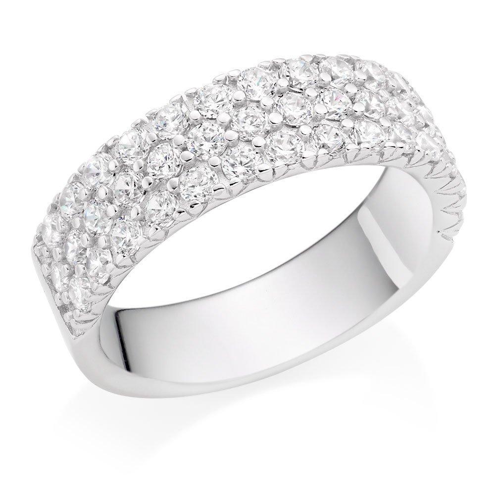 Silver Cubic Zirconia Three Row Ring