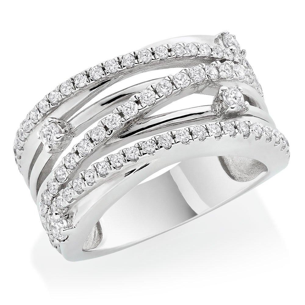 Silver Cubic Zirconia Crossover Ring