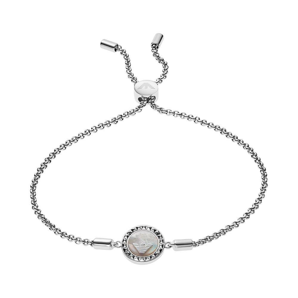 Emporio Armani Silver Mother of Pearl Slider Bracelet