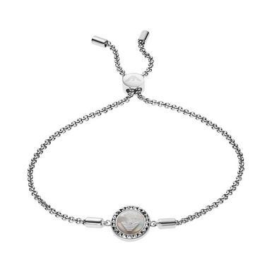 Emporio Armani Silver Mother of Pearl Slider Bracelet