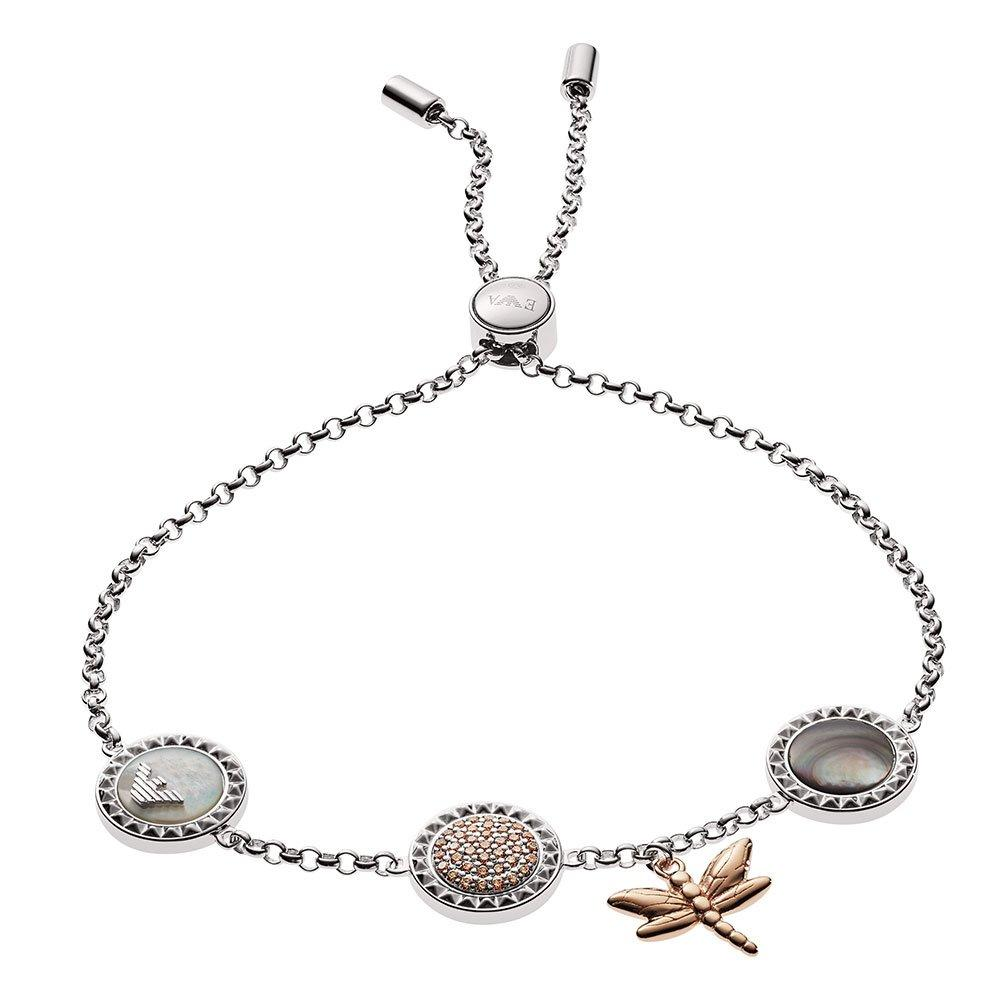 Emporio Armani Silver Multi Stone Dragonfly Slider Bracelet