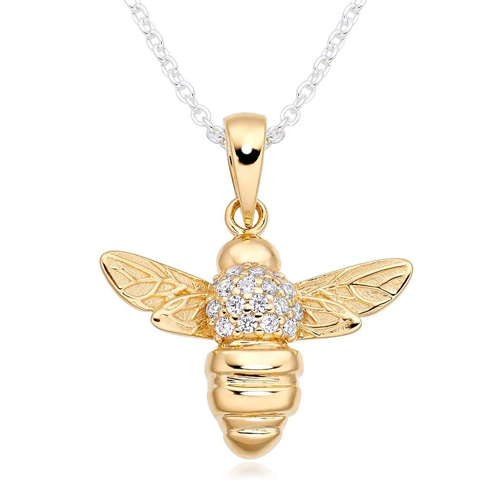 Gold Plated Silver Cubic Zirconia Bee Pendant