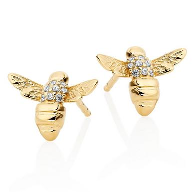 Gold Plated Silver Cubic Zirconia Bee Earrings