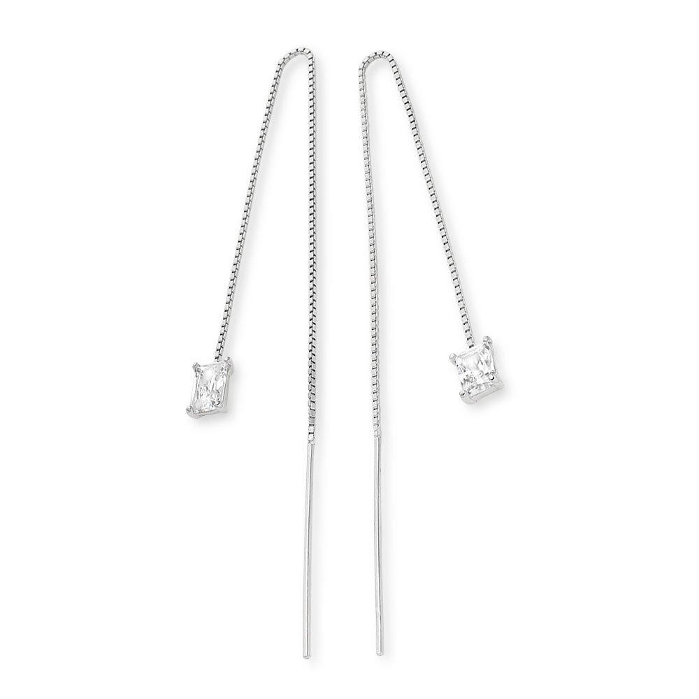 Silver Cubic Zirconia Double Drop Earrings