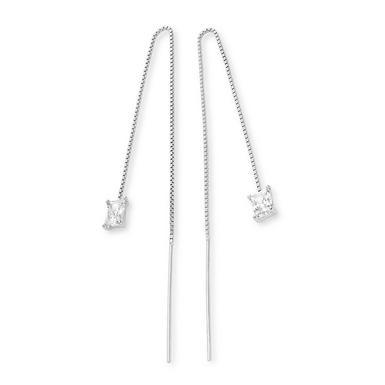 Silver Cubic Zirconia Double Drop Earrings