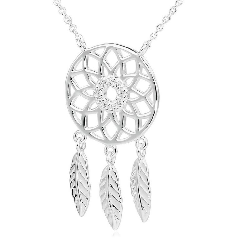 Silver Cubic Zirconia Dreamcatcher Necklace