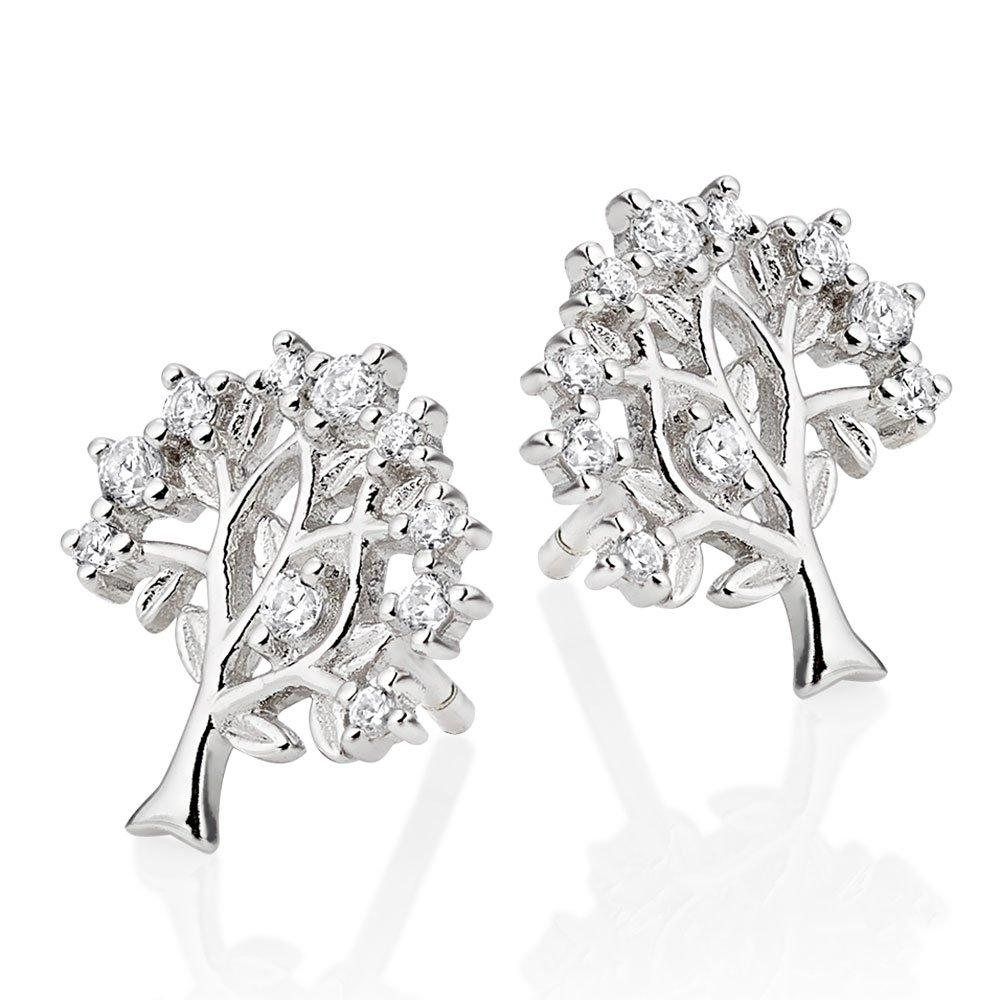 Silver Cubic Zirconia Tree Stud Earrings