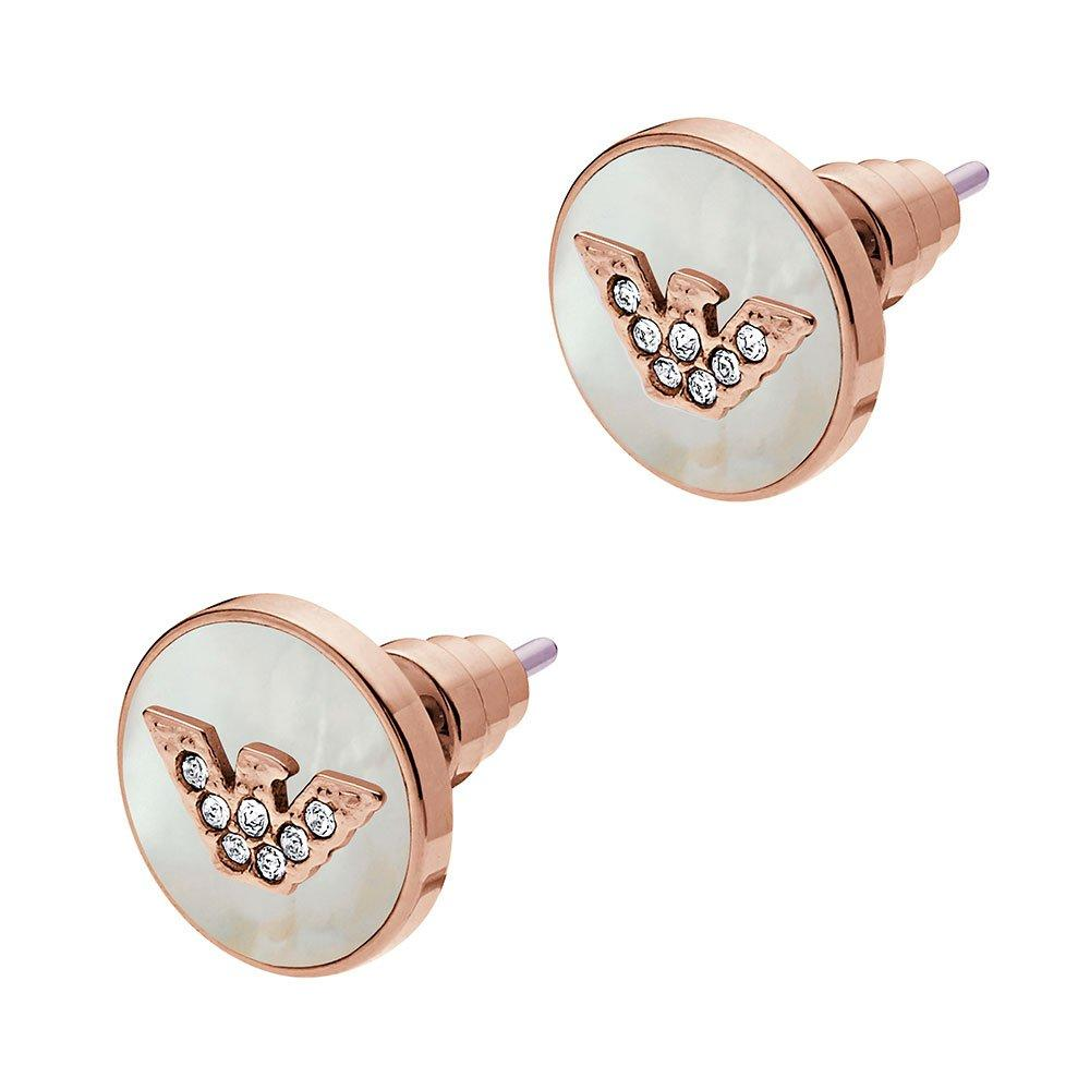 Emporio Armani Rose Gold Tone Mother of Pearl Earrings