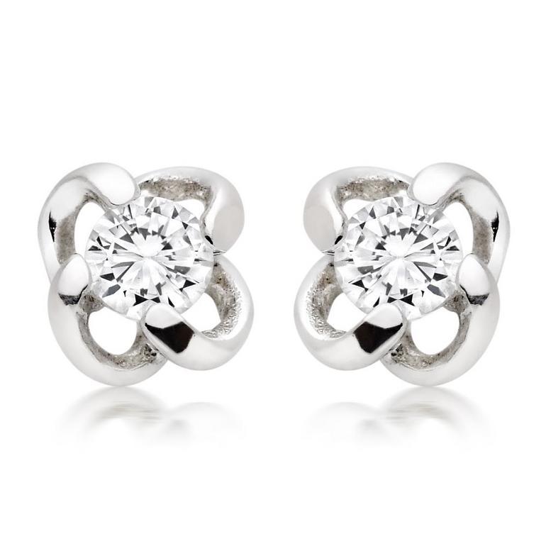 Silver Cubic Zirconia Twist Stud Earrings
