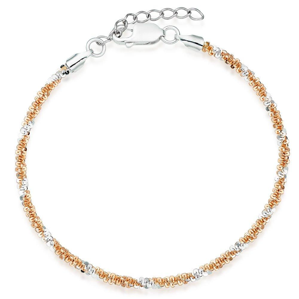 Silver and Rose Gold Plated Sparkle Cut Bracelet